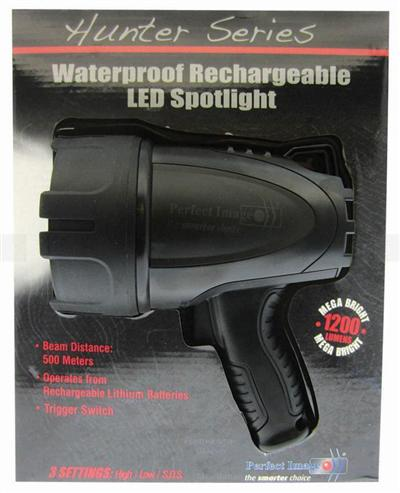 Marine LED Rechargeable Spotlight 1200 Lumens Waterproof IP67 Black