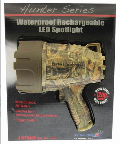 Marine LED Rechargeable Spotlight 1200 Lumens Waterproof IP67 Camo